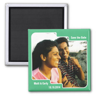 Save the Date Scallop Green Magnet