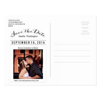 Save the Date Script Photo Postcard