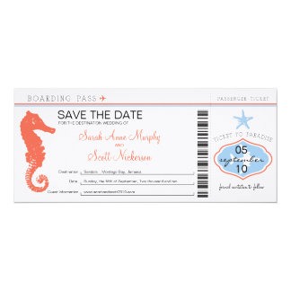 Save the Date Seahorse & Starfish Boarding Pass Card