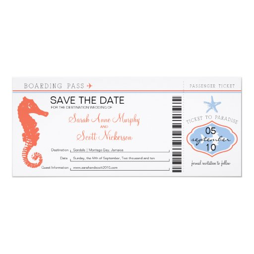 Save the Date Seahorse & Starfish Boarding Pass 4x9.25 Paper Invitation Card