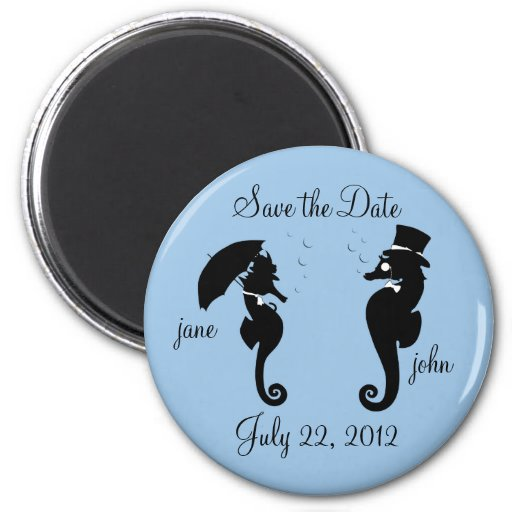 Save the Date Seahorses Wedding Magnet