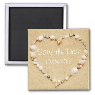 Save the Date Seashell Heart Magnet