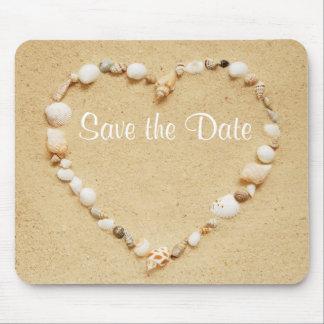 Save the Date Seashell Heart Mousepad