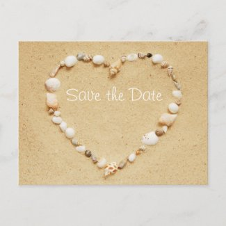 Save the Date Seashell Heart Postcard
