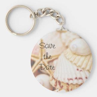 Save the Date Seashell Keychain