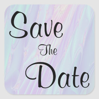 Save The Date. Seashell Style Pattern. Square Sticker