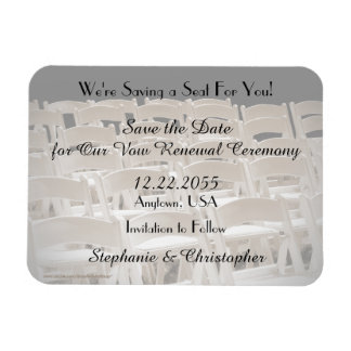 Save the Date Sepia Vow Renewal Chairs Magnet
