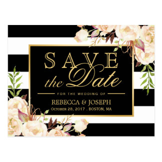 Save the Date - Shades of Ivory Floral Stripes Postcard