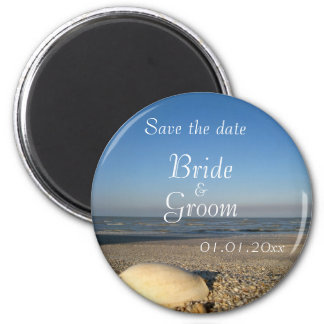 SAVE THE DATE - Shells on Beach 2 Inch Round Magnet
