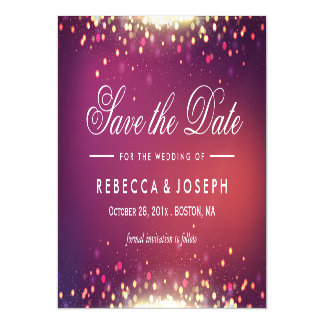 Save the Date Shimmer Gold Glitter Sparkle Dots Magnetic Card