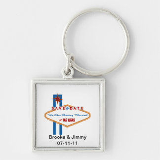 Save the Date Silver-Colored Square Keychain