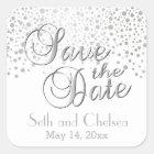 Save the Date Silver Dots   Personalize Square Sticker