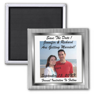Save The Date! Silver Frame Photo Magnets