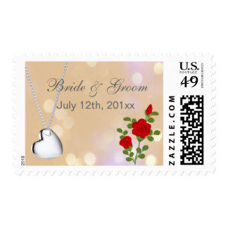 Save the date silver heart necklace and red rose postage