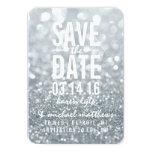 Save the Date   Silver Lit Glitter Fab Custom Announcement