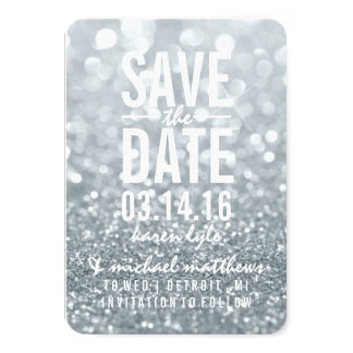 "Save the Date | Silver Lit Glitter Fab 3.5"" X 5"" Invitation Card"