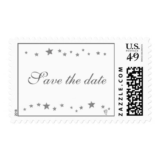 Save the date, silver stars border, wedding stamps