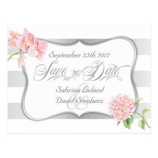 Save the Date Silver Stripes and Pink Hydrangeas Postcard