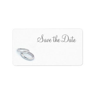 Save the Date/Silver Wedding Bands Address Label