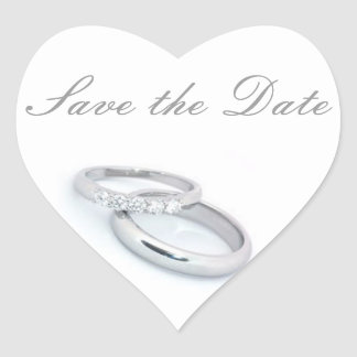 Save the Date/Silver Wedding Bands Heart Sticker