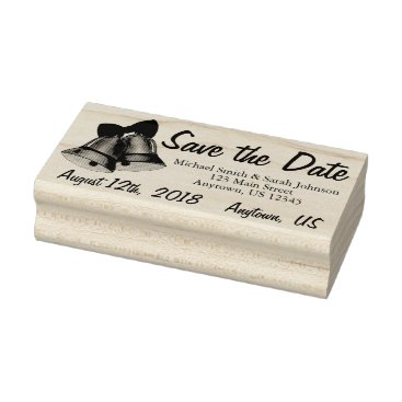 Wedding Themed Save the Date Silver Wedding Bells Personalized Rubber Stamp