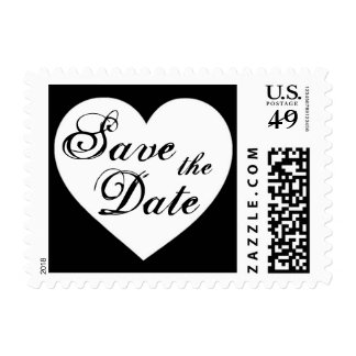 Save the Date simple black white heart stamps