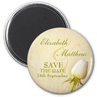 Save the Date Single White Rose Fridge Magnet