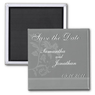 Save the Date Slate Grey Ribbon Magnet