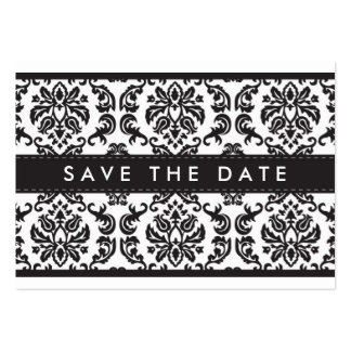 SAVE THE DATE :: small card :: damask - black Large Business Cards (Pack Of 100)