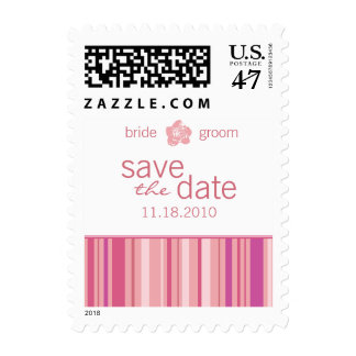 Save The Date Small Postage-Modern Stripes (Pink) Postage