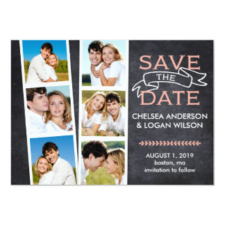 Save the Date | Snapshot Collage Pink Card