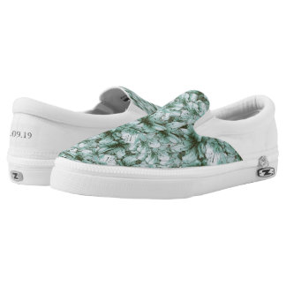 Save the Date Spring Green Floral Flower Pastel Slip-On Sneakers