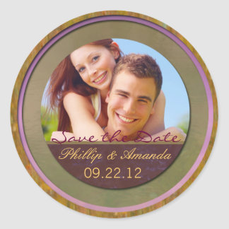 Save the date spring modern classic round sticker