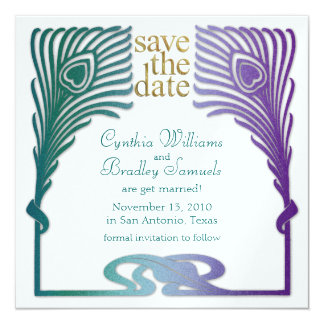 Save the Date Square Peacock Set 1103a Card