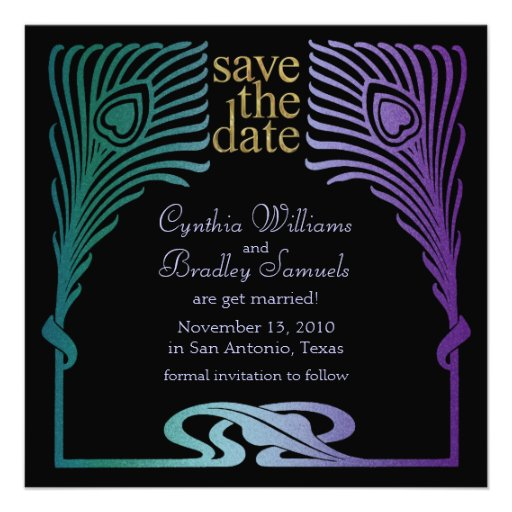 Save the Date Square Peacock Set 1103a Personalized Invite