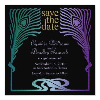 "Save the Date Square Peacock Set 1103a 5.25"" Square Invitation Card"