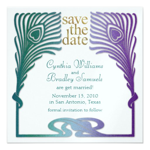 Save the Date Square Peacock Set 1103a Personalized Invites
