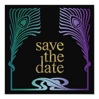 Save the Date Square Peacock Set 1103a Invitation