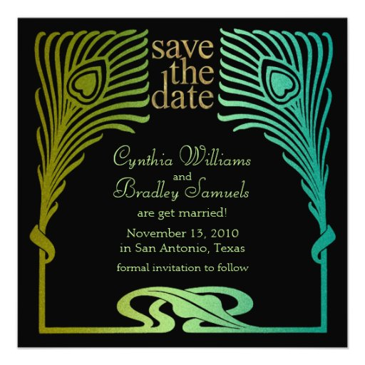 Save the Date Square Peacock Set 1104 Personalized Invitation