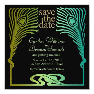 Save the Date Square Peacock Set 1104 Invitation