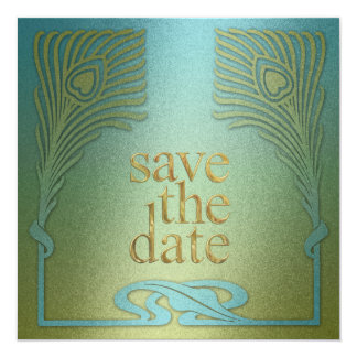 Save the Date Square Peacock Set 1104a Invitation