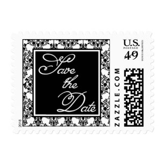 Save the Date Stamp Black Damask