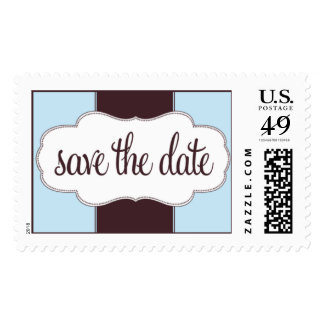 Save the Date Stamp Blue and Brown