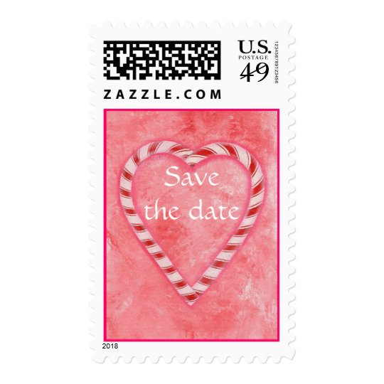 Save the date stamps, Candy Cane heart on pink Postage