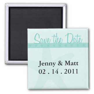 Save the Date Starfish 2 Inch Square Magnet