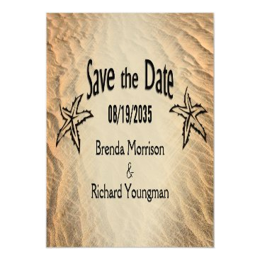 Beach Themed Save the Date Starfish Beach Magnetic Card