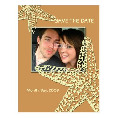 Save the Date, starfish + sand Post Cards
