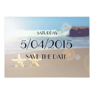 Save the date starfish wedding invitation