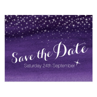 Save the date starry sky stars wedding postcard