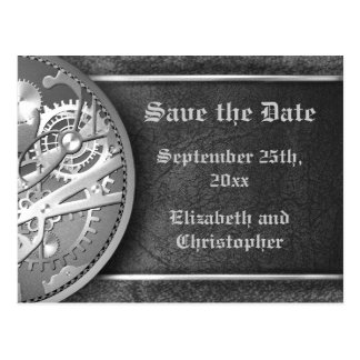 Save the date steampunk gears black and white postcard